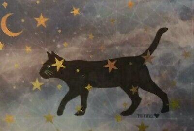 Mixed Media Black Cat Moon Star Halloween Magic Wicca signed by renna 113