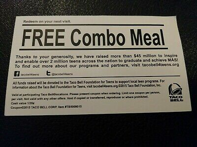 (10) Taco Bell Combo Meal Vouchers