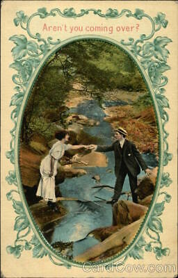 1911 Couple With Arms Outstretched Over Stream Antique Postcard 1c stamp Vintage