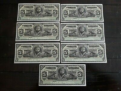 7 Consecutive-Mexican Revolution Banco de Tamaulipas 5 Pesos Notes  CH/GEM   #11