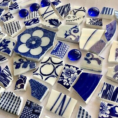 Broken China Plate Mosaic Tiles~COBALT BLUE AND WHITE MIXED PATTERNS~ARTSY, MOD