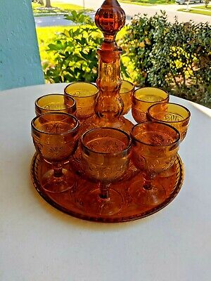 Vintage Indiana Tiara Glass Amber Decanter w/Glass Tray and 8 Matching Glasses