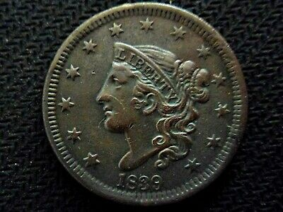 A Lovely 1839 Matron Head Large One Cent Piece!!