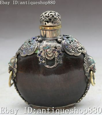 China Natural Ox Horn Carving Wealth Lion Head Snuff Bottle Kettle Pot Statue