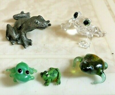 Lot of 5 Vintage Frog Figurines Miniatures Spoontique Pewter Crystal Glass Blown