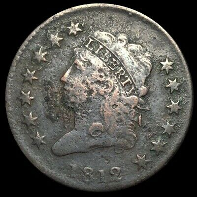 1812 Large Cent Classic Head 1C Penny Copper Full Liberty With Detail (A100)