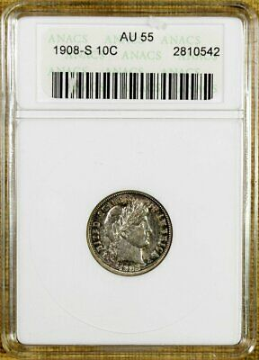 1908-S ANACS AU55 Barber Dime - Better Date