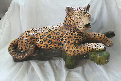 Large Artistically Painted Lounging Leopard Cat on a Log Sculpture