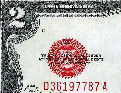HGR SATURDAY 1928F $2 Legal Tender ((1of2 Consec#)) Appears GEM UNICIRCULATED