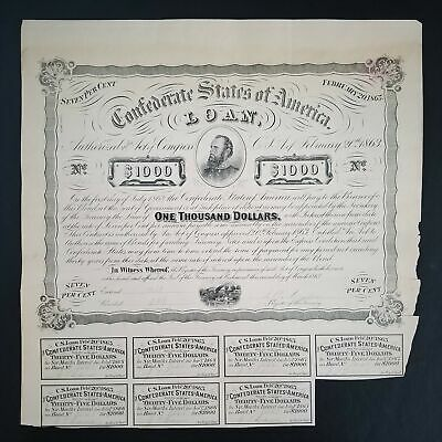 1863 $1000 The Confederate States of America (CTFT.) War Bond w/ 7 Coupons