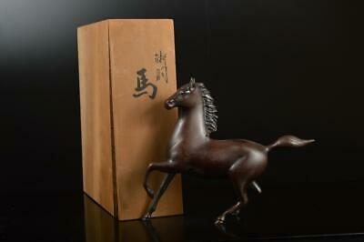 A8961: Japanese Copper Horse STATUE sculpture Ornament Figurines w/signed box