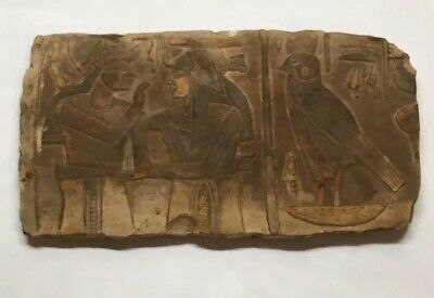 """Rare EGYPT EGYPTIAN ANTIQUES Wall Relief STONE Limestone Carved Back 9""""x5"""" Nice"""