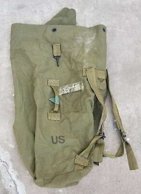 "US Military Army Canvas Duffel Bag Rucksack Backpack Heavy Duty 36"" Long Vintage"