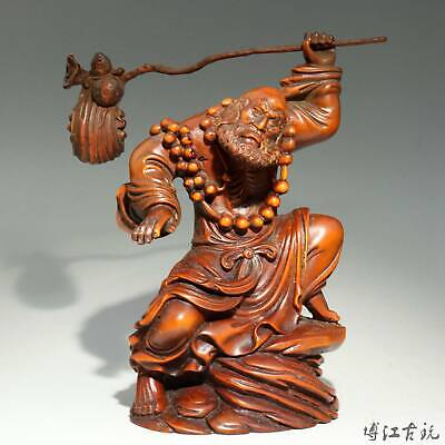 Collectable China Old Boxwood Hand-Carved Master Of Zen Unique Decorate Statue