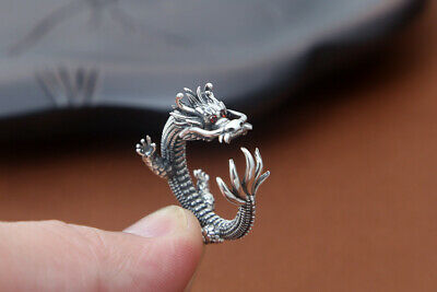 Collect Chinese Old S925 Sterling Silver Hand-Carved Myth Exorcism Dragon Ring