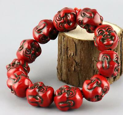 Collectable Antique Red Coral Hand Carve Double Buddha Head Bring Luck Bracelet