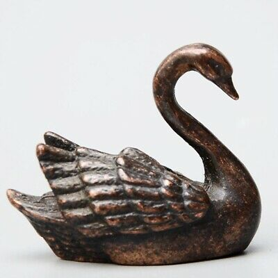 Collectable China Old Red Copper Hand-Carved Elegant Swan Delicate Decor Statue