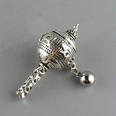 Collectable China Old Tibet Silver Hand Carve Exorcism Weapon Auspicious Pendant