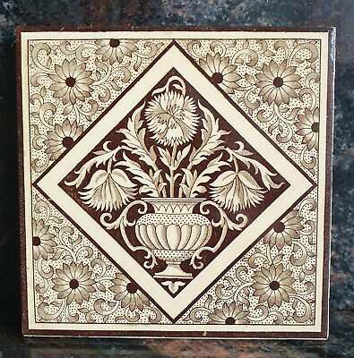 A 6in X 6in MINTON TILE- AESTHETIC MOVEMENT- GOOD CONDITION