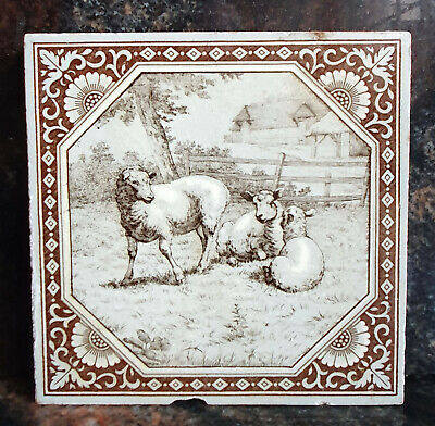 A 6in X 6in MINTON TILE- WILLIAM WISE FARM ANIMALS- GOOD CONDITION