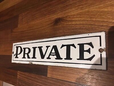 "Original genuine Victorian Enamel Sign ""PRIVATE"" from an Oldham Bank Circa 1890"