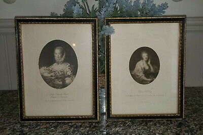 """A Vintage Pair of Picture """"French Ladies"""" with Black & Gold Frames"""