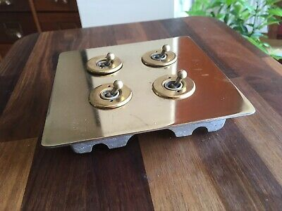 Vintage Walsall Brass 4 Gang  Light Switch Perfect circa 1950s