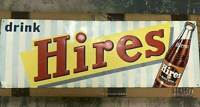 "Rare Large 1950's Hires Root Beer 32"" Embossed Metal Sign"