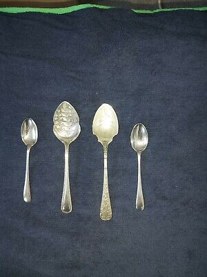Antique solid silver serving spoons