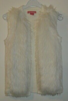 Girls Age 3-4 Years Cream Knitted Gilet Faux Fur Front Primark Sleeveless Cardi