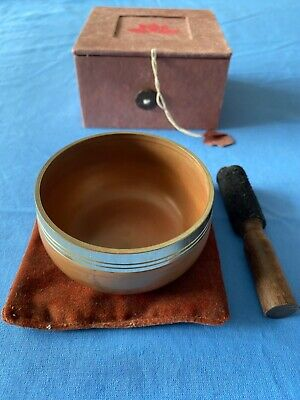 Buddhist singing bowl, gong, mat, boxed, in brown
