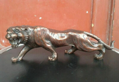 Chinese Fengshui pure red bronze copper Animal Zodiac Year Lucky Tiger Statue