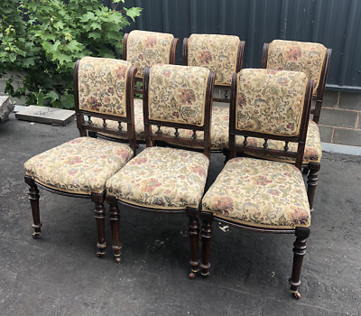 Antique Set Of 6 Edwardian Dining Chairs In Mahogany