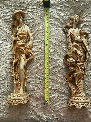 Authentic rare Vintage Pair Male & Female Oriental Chinese Resin Figures Statue