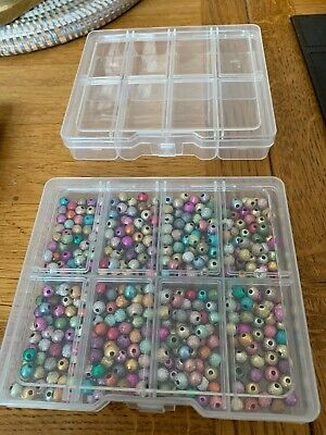 beads for jewellery making. Job Lot. 6mm. Mixed Colours + 2 Bead Cases.