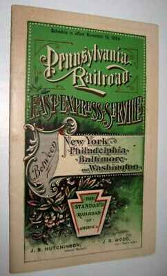 Pennsylvania Railroad  Express Service  Ny - Washington  1899  Prr