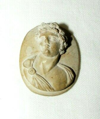 Antique Victorian Hand Carved Lava Cameo Classical Figure Possibly Male Portrait