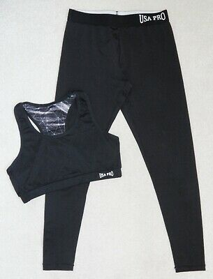 Girls Usa Pro Black Sports Bra Top & Leggings 13 Yrs 12-13 Gym Dance Hoody Coat