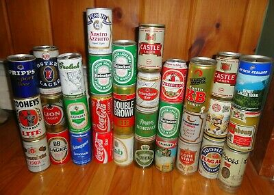 Vintage beer can pull top lot of 31 coca cola collector imported domestic