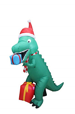 7 Foot Tall Christmas Inflatable Dinosaur with Gift Boxes Cute Lights Lighted