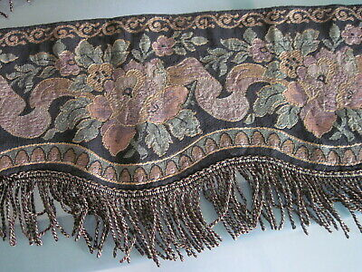 Antique Victorian Floral Window Valance with Fringe - 3 Pieces.