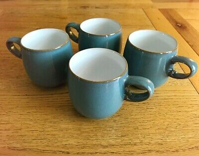 4 Denby Blue Azure Small Curve Mugs