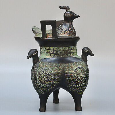 Collect China Old Bronze Hand-Carved Four Myth Phenix Moral Auspicious Censer
