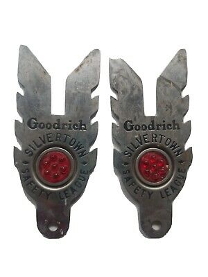 2 Vintage Goodrich Silvertown Safety League Car Motorcycle License Plate Topper