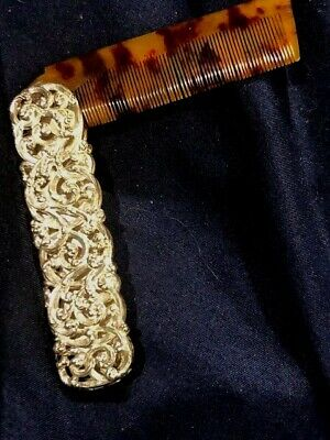 sterling silver mustache comb holder, ornate filigree with intact flip out comb