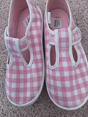 Girls BN Marks And Spencer Pink Gingham Pumps Size 10