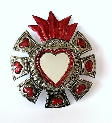 Small Mexican Folk Art Tin Heart & Mirror Natural Tin Antiqued Patina #001