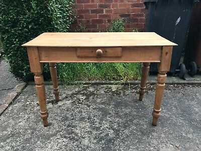 Vintage Antique Solid Pine Writing Desk with Single Drawer