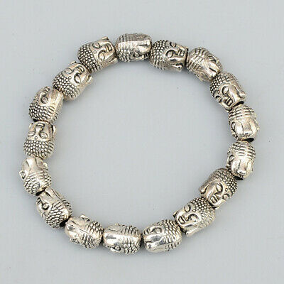 Collectable China Miao Silver Hand-Carve Delicate Buddha Head Buddhism Bracelet