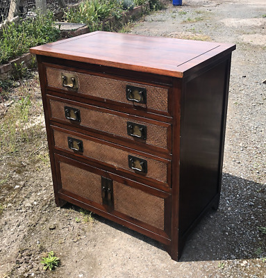 Antique Edwardian Solid Teak Wood Chest Of Drawers